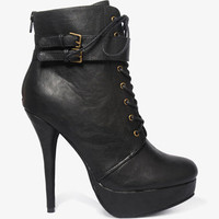Buckled Lace-Up Booties