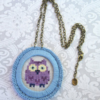 Cross stitch cute owl pendant necklace. Embroidery necklace, Crochet, Blue, Violet, Antique chain