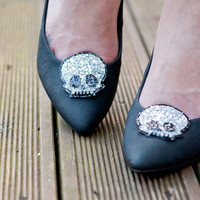 Silver Skull Shoe Clips - Glitter shoeclips with cute kawaii skulls to brighten up any shoes