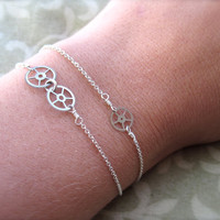 SILVER Delicate Steampunk Bracelet - vintage watch gears and sterling silver chain