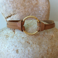 Simple leather gold circle bracelet - gold circle bracelet