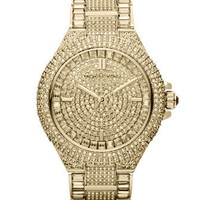 Michael Kors Mid-Size Golden Stainless Steel Camille Three-Hand Glitz Watch - Michael Kors