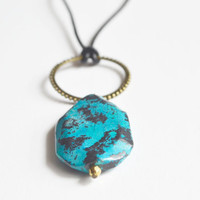 Blue Black Stone Necklace.Geometric Stone Pendant. Brass Circle and Leather Cord. Chrysocolla Stone