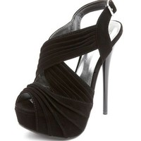 Pleated X-Front Velvet Pump: Charlotte Russe