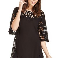 DailyLook: ONE by One Teaspoon Angel Boy Crochet Lace Tunic Dress in Black S - M