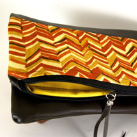 Santa Fe Chevron - Reversible  Fold-over Leather Clutch -