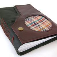 Vintage Rugged Plaid - Leather Journal or Sketchbook - the Wanderlust Collection - (lg)