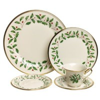 Lenox Holiday 20-Piece Gold-Banded Fine China Dinnerware Set, Service for 4