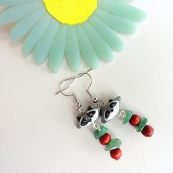 Raccoon Earrings, Animal Earrings, Woodland Jewelry, Polymer Clay Jewelry