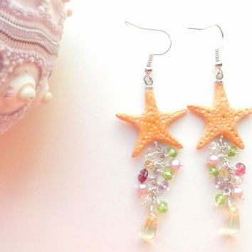 Starfish Earrings, Boho-Beach Jewelry, Polymer Clay Starfish