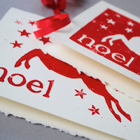Reindeer Christmas Cards, Set of Two Leaping Deer Silhouette Noel Christmas Cards