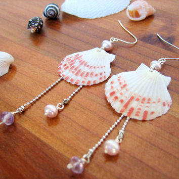 Scallop Shell Earrings, Seashell Earrings, Dangle Earrings, Beach Jewelry