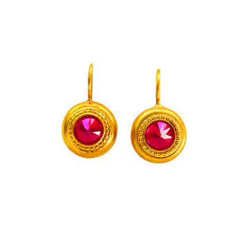 Pyramid Red Ruby Gold Plated Earrings,Hot Pink Earrings,Pink Earrings,Gold And Pink Earrings, Bridal crystal earrings, Gold crystal earrings