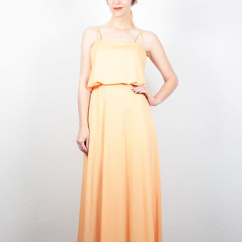 Vintage 70s Dress Orange Sorbet Coral Peach Maxi Dress 1970s Dress Grecian Gown Draped Hippie Dress Bridesmaid Sundress Prom Dress M Medium