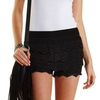 Scalloped Crochet High-Waisted Shorts by Charlotte Russe - Black