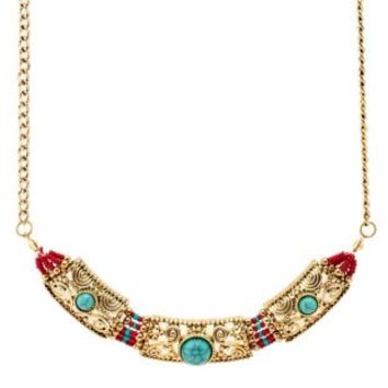 Beaded Turquoise Collar Necklace by Charlotte Russe - Multi