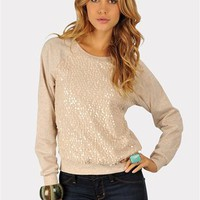 Forever Young Sequined Sweater - Oatmeal at Necessary Clothing