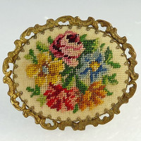 Vintage Petit Point Brooch Embroidery Needlepoint Floral Vintage Jewelry
