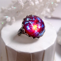 Round Dragon&#x27;s Breath Opal Ring