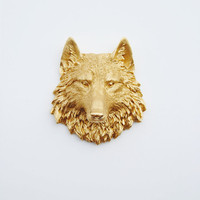 The Otis - 1 Gold Mini Resin Wolf Head- Resin White Faux Taxidermy- Chic & Trendy
