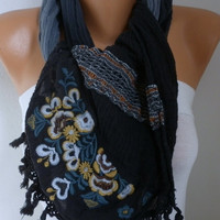 Gray & Black Ombre Scarf Spring Winter Accessories Shawl Cowl Scarf Gift Ideas for Her Women Fashion Accessories Mother's Day Gift