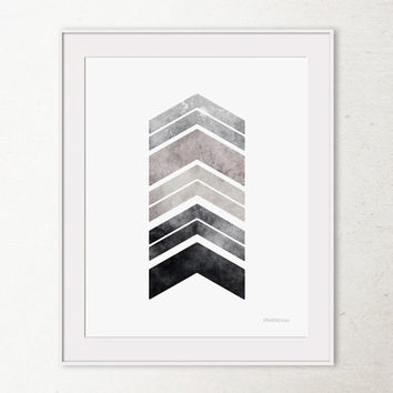 Gray art Printable wall art print, Bedroom decor, Gray chevron arrows art print, Gray wall art, Gray decor, Geometric print, 8x10 Wall Print