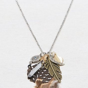 AEO Women's Feathered Charm Necklace (Mixed Metal)