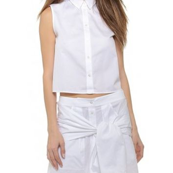 T by Alexander Wang Poplin Cropped Boxy Shirt