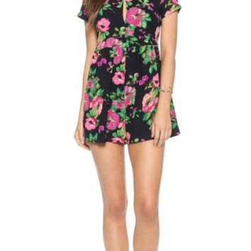 re:named Lucid Floral Short Sleeve Romper