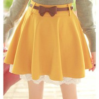Yellow Lace Hem Knit Material Skirt Women Dress @MF7800y