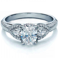 Engagement Ring - Oval Diamond Engagement Ring Pear side stones in 14K White Gold - ES1087