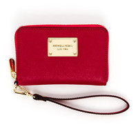 MICHAEL Michael Kors  iPhone Saffiano Leather Zip Wallet, Lacquer Pink or Black - Michael Kors
