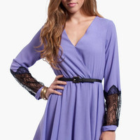 Lace Cuffs Belted Wrap Dress $44