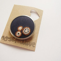 Mini embroidery hoop brooch wearable art OOAK Mandala style, brown cream navy blue