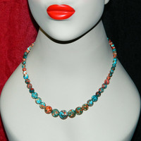 Necklace, Graduated Howlite Beads, Sterling Closure, Salmon and Robin Egg Blue