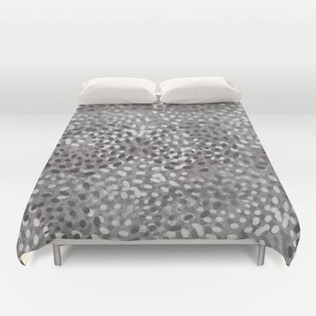 Gray Petals Duvet Cover by KCavender Designs