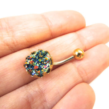 Rainbow Crown Jewel Druzy Crystal Cluster Geode Belly Button Ring Jewelry Navel Piercing Celestial Bar Barbell Stud