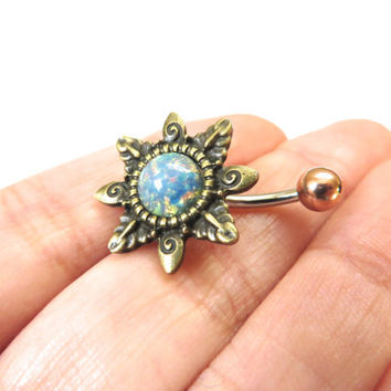 Blue Opal Starburst Belly Button Ring Navel Piercing Bronze Sun Stud Bar Barbell Star Burst