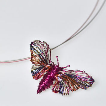 Fuchsia Butterfly necklace Butterfly pendant Butterfly jewelry Wire statement necklace Rainbow jewelry Nature inspired Cute necklace gift