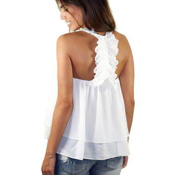 Off White Top With Ruffle Racerback | Ruffle Back Top