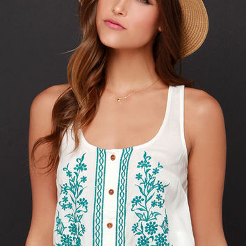 O'Neill Julia Embroidered Cream Crop Top