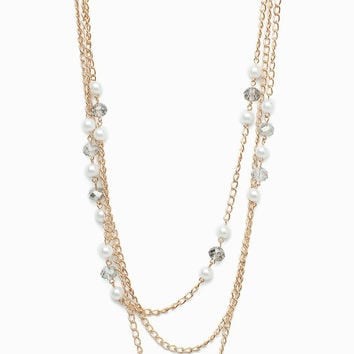 Pearl Rhinestone & Chain Layer Long Necklace