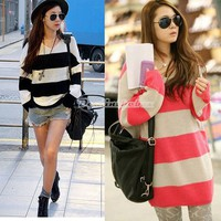 New Women's Long Sleeve Sweater V-Neck Striped Knitwear TOP Pullover Fashion