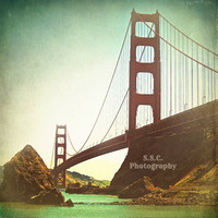 Golden Gate Bridge Photo. Vintage Photo. Retro. red. Brown. Green. Blue. San Francisco. Bay. Textured. Old. 8x8 inch photo. California. Sky