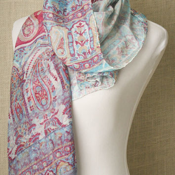 Tanjore Style...hand dyed, artisan, classic style, silk scarf. Eco-dyed using recycled silk.
