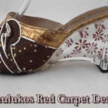 Unique BUTIK ASIA Womens #shoes Clear Heels #Mules GOLD w/ Red Glitter Stars 5 M