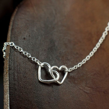 Two Hearts Necklace - The Perfect Gift for Someone You Love - Choose Sterling Silver or 14kt Gold Filled