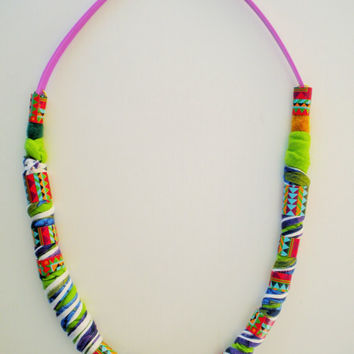 original plastic and textile necklace with felt and geometrical pattern