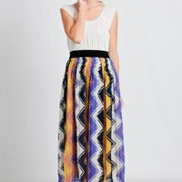 Color Wheel Printed Maxi Skirt