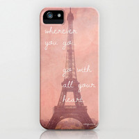 NEW iPhone 5 Hard Case, Travel Quote, Eiffel Tower in Paris, France Photography on a Custom Apple iPhone Case
